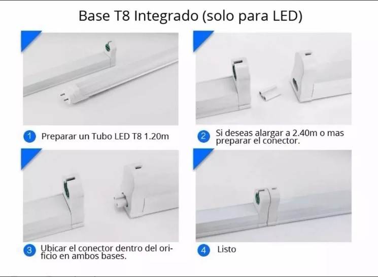 Canaleta Base Para Tubo Led T8 1.20 Mts